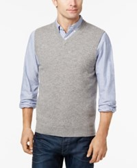 Club Room Men's V Neck Cashmere Sweater Vest Created For Macy's Grey Heather