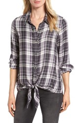 Bobeau Women's Tie Front Plaid Shirt Grey Black Plaid