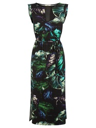Oasis Tropical Print Midi Dress Multi