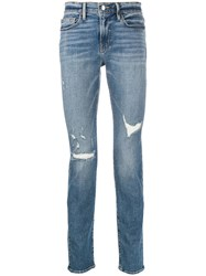 Frame Ripped Slim Fit Jeans Blue