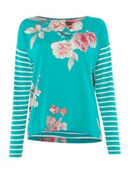 Joules Jersey And Woven Mix Top Green