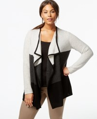 Charter Club Plus Size Cashmere Colorblocked Cardigan Classic Black