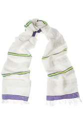 Lemlem Dido Checked Neon Striped Cotton Blend Scarf