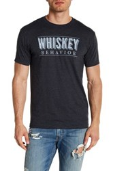 Kid Dangerous Whiskey Behavior Short Sleeve Front Graphic Print Tee Black