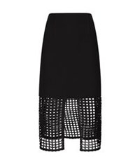 Finders Keepers Stand Still Mesh Midi Skirt Black