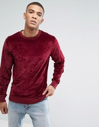 Bellfield Velour Sweatshirt Red