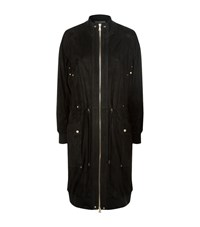 Balmain Longline Suede Coat Female Black