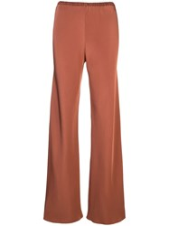 Peter Cohen Elasticated Wide Leg Trousers Brown