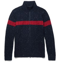 Brunello Cucinelli Striped Cable Knit Donegal Wool And Cashmere Blend Zip Up Cardigan Navy