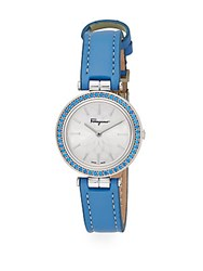 Salvatore Ferragamo Intreccio Blue Topaz Stainless Steel And Leather Watch