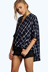 Boohoo Grid Check Wrap Front 3 4 Sleeve Blouse Blue