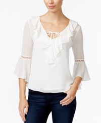 Amy Byer Bcx Juniors' Bell Sleeve Blouse Off White