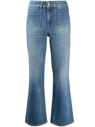 7 For All Mankind Mid Rise Kick Flare Jeans Blue