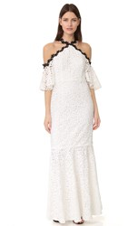 Jill Stuart Off Shoulder Lace Mermaid Gown Off White Black