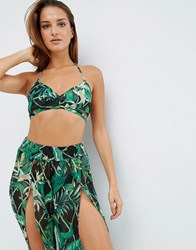 Asos Bright Bamboo Palm Print Wrap Beach Crop Top Co Ord Bamboo Print Multi