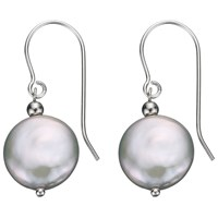 A B Davis Sterling Silver Freshwater Coin Pearl Drop Earrings White