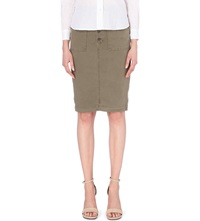 J Brand 7035 Ani Stretch Twill Pencil Skirt Olive Drab