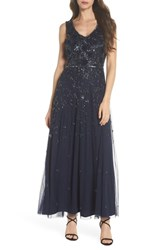 Pisarro Nights 3D Embellished Mesh A Line Gown Navy