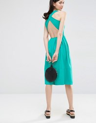 Asos Midi Skater Dress With Cross Back Pale Green
