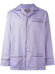 Otis Batterbee Lilac Herringbone Pyjama Set Pink Purple
