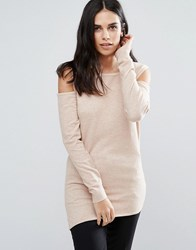 Fashion Union Cold Shoulder Jumper Oatmeal Stone