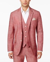 Tasso Elba Men's Classic Fit Chambray Blazer Only At Macy's Pepperoni