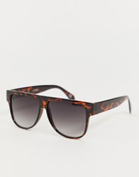 Jeepers Peepers Flat Brow Sunglasses In Tort Brown