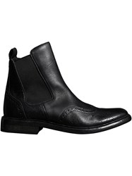 Burberry Brogue Detail Polished Leather Chelsea Boots Black