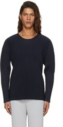 Homme Plisse Issey Miyake Navy Long Sleeve Pleated T Shirt