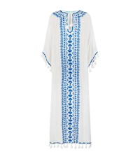 Melissa Odabash Embroidered Tassel Trim Long Kaftan Female White