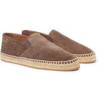 Bottega Veneta Intrecciato Suede Espadrilles Light Brown