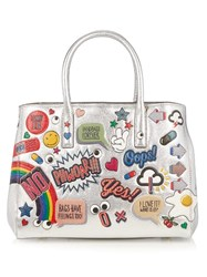 Anya Hindmarch Ebury All Over Stickers Small Tote Silver Multi