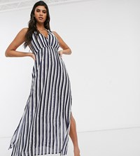 Akasa Exclusive Maxi Beach Dress In Navy Stripe Multi