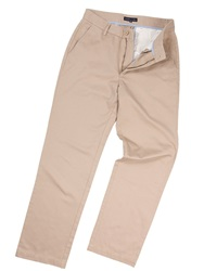 Raging Bull Tailored Flat Front Chino Trousers. Khaki