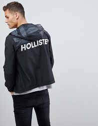 Hollister Unlined Lightweight Hooded Jacket With Black Camo And Solid Black Camo