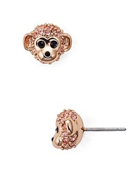 Kate Spade New York Pave Monkey Stud Earrings Pink Gold