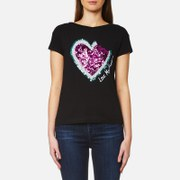 Love Moschino Women's Sequin Heart Bite Logo T Shirt Black