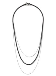 Topman Silver Look And Black Multi Row Chain Necklace