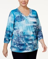 Alfred Dunner Plus Size Printed Embellished Top Multi