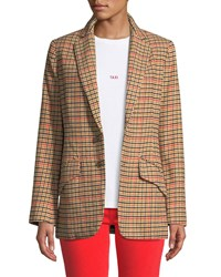 Current Elliott The Date Night Two Button Check Blazer Brown Pattern