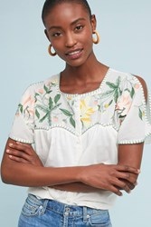 Intropia Embroidered Peasant Top White