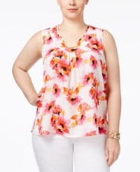 Kasper Plus Size Shirred Top Pink Perfection