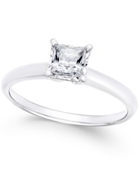 Macy's Diamond Princess Solitaire Engagement Ring 1 2 Ct. T.W. In 14K White Gold