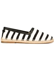 Dolce And Gabbana Striped Espadrilles White