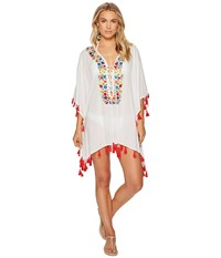 Bindya Floral Embroidery Lace Up Tunic White Women's Blouse