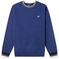 Fred Perry Authentic Bold Tipped Crew Sweat Blue
