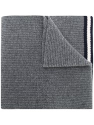 Bally Ribbed Knit Scarf Grey