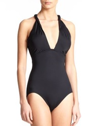 Carmen Marc Valvo One Piece Halter Swimsuit Black