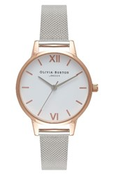 Olivia Burton Women's Mesh Strap Watch 30Mm Silver White Rose Gold