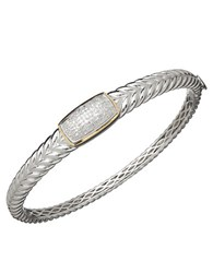 Lord And Taylor Red Box Gallery Sterling Silver With 14K Yellow Gold Diamond Bangle Bracelet Diamond Silver